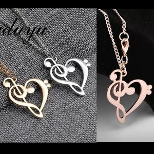 music note heart chain necklace